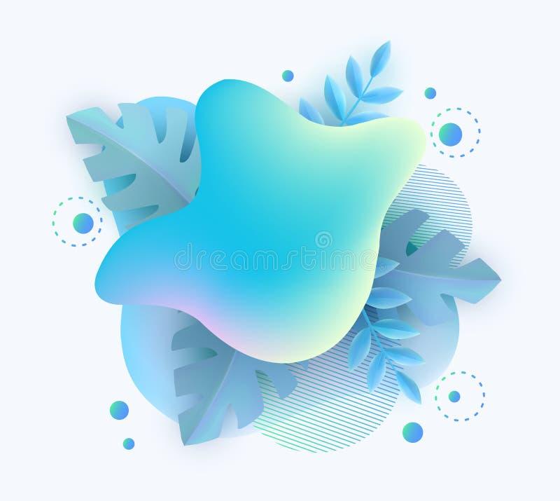 Дизайн предпосылки знамени зимы тематический пустой с абстрактными формами градиента и голубыми листьями иллюстрация вектора