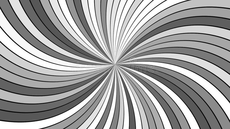 Дизайн предпосылки спирального вортекса серого абстрактного гипнотика striped от изогнутых лучей иллюстрация штока