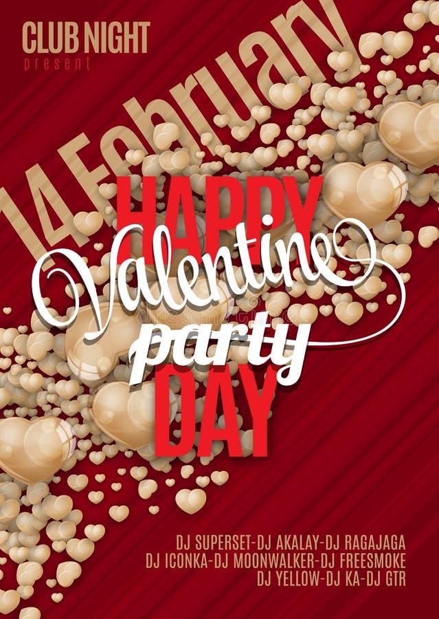 Дизайн предпосылки рогульки партии дня валентинок Vector шаблон приглашения с сердцами, рогулькой, плакатом или поздравительной о иллюстрация вектора