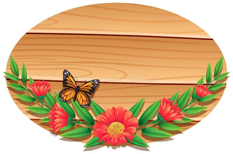 Дизайн предпосылки с деревянными стеной и заводами иллюстрация вектора