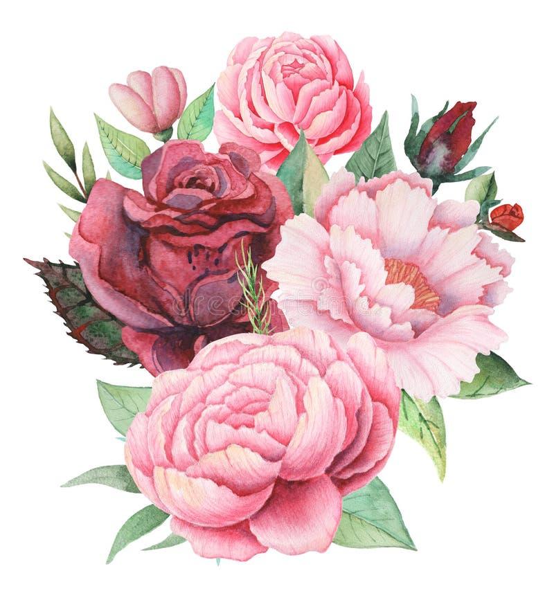 Дизайн приглашения акварели с букетом цветков, рукой покрасил флористические составы изолированный на белой предпосылке иллюстрация штока