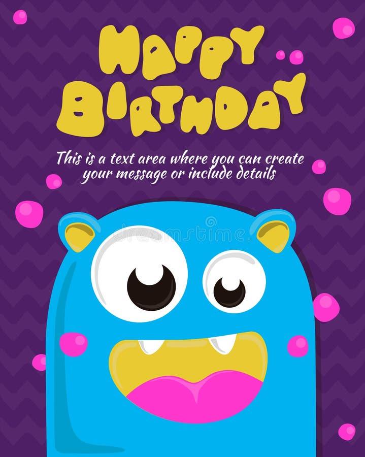 Дизайн приглашения карточки партии изверга шаблон дня рождения счастливый также вектор иллюстрации притяжки corel бесплатная иллюстрация