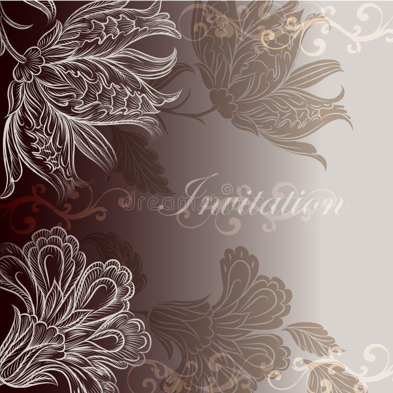 Дизайн приглашения свадьбы с флористическими свирлями бесплатная иллюстрация