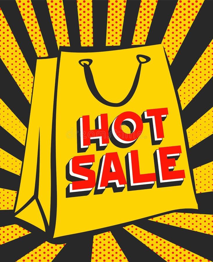 Дизайн продажи, бумажный мешок с литерностью продажи на ретро предпосылке лучей иллюстрация вектора