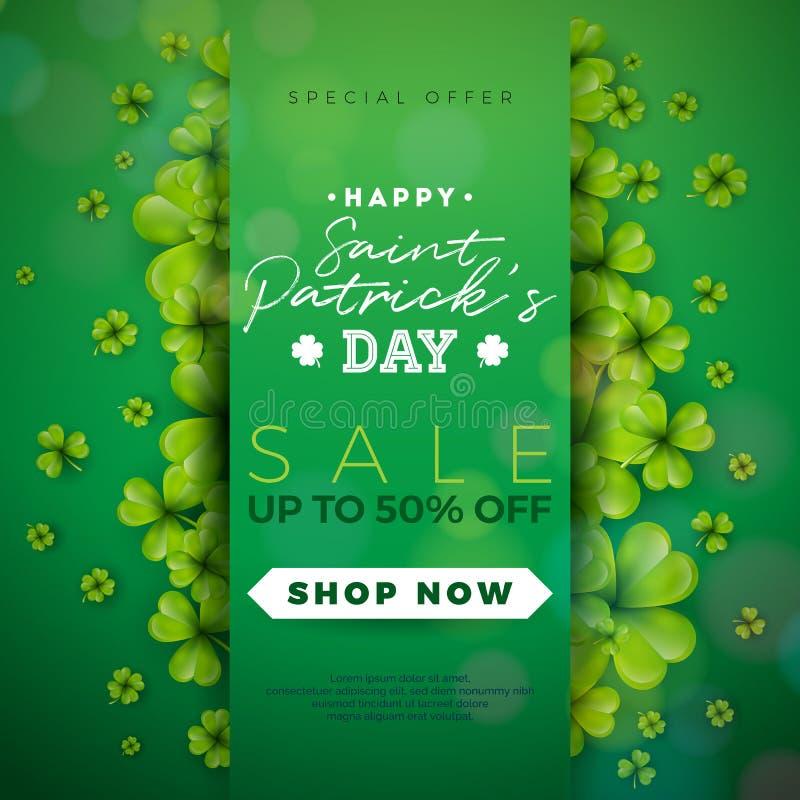 Дизайн продажи дня ` s St. Patrick, с клевером и письмом оформления на зеленой предпосылке Дизайн праздника вектора ирландский уд иллюстрация вектора