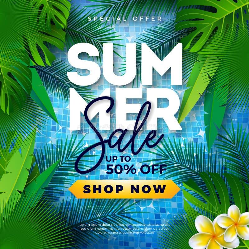 Дизайн продажи лета с тропическими листьями и цветком ладони на голубой предпосылке Иллюстрация особенного предложения вектора с иллюстрация вектора