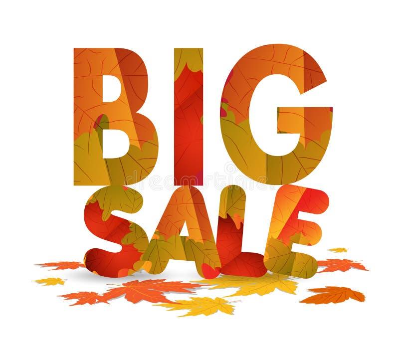 Дизайн продажи падения Скидка осени для рекламировать, знамен или плакатов Большая продажа изолированная на белой предпосылке иллюстрация штока