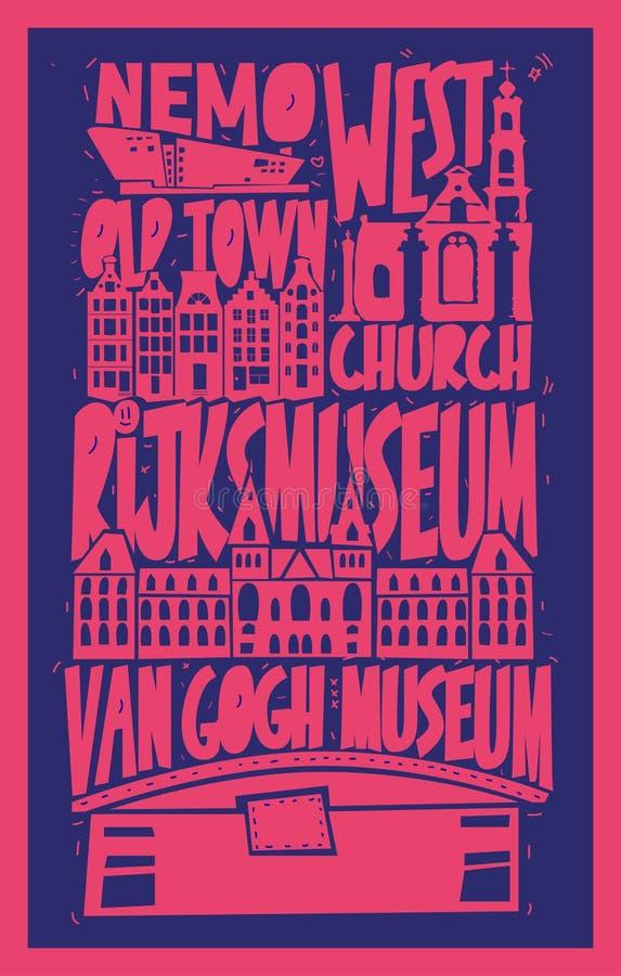 Дизайн плаката зданий Амстердама вектора бесплатная иллюстрация