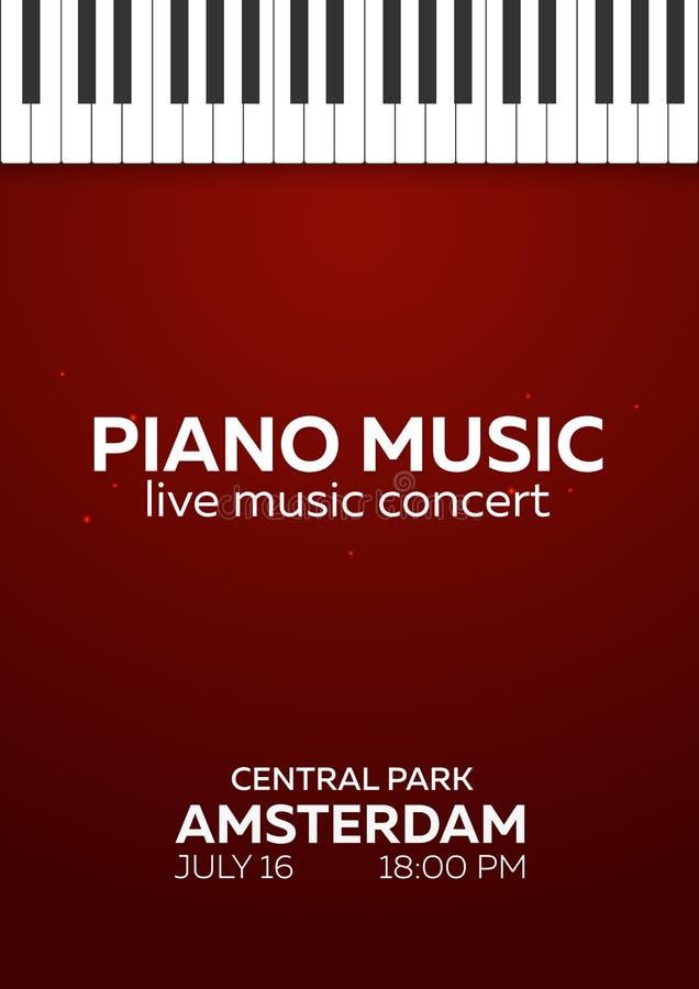 Дизайн плаката концерта рояля Концерт живой музыки пользует ключом рояль также вектор иллюстрации притяжки corel бесплатная иллюстрация