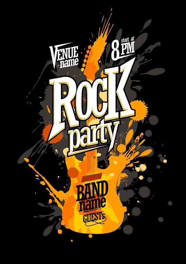 Дизайн плаката партии утеса с гитарой иллюстрация штока