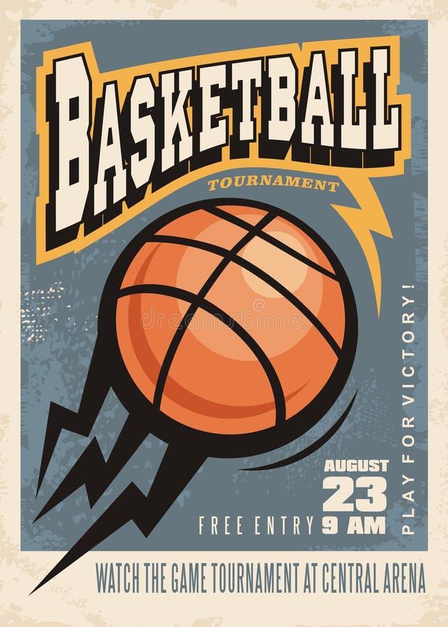 Дизайн плаката турнира баскетбола ретро бесплатная иллюстрация