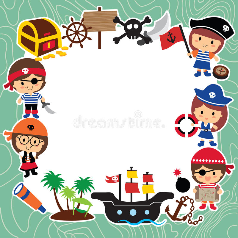 Дизайн плана детей пиратов иллюстрация вектора