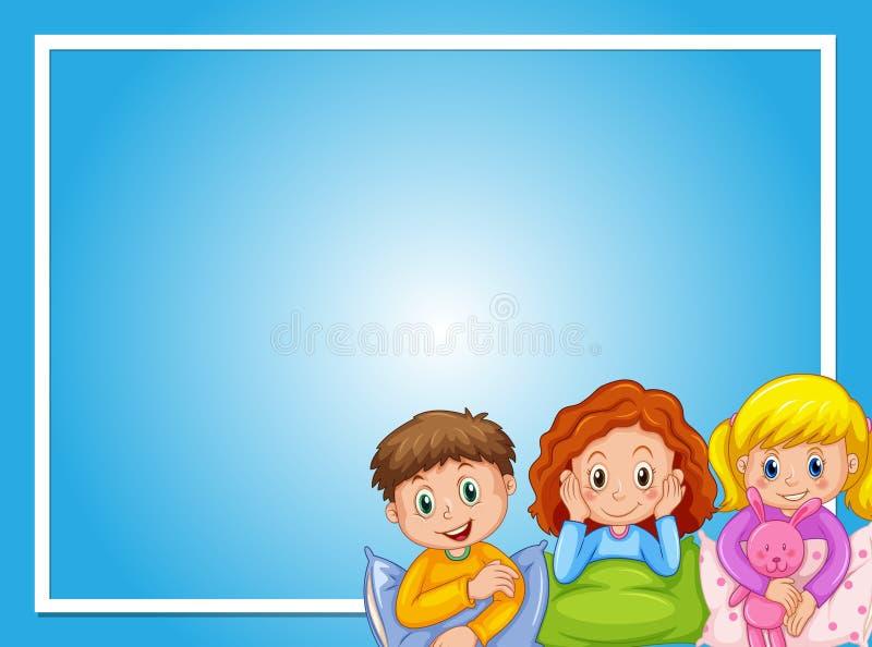 Дизайн рамки с детьми в пижамах бесплатная иллюстрация