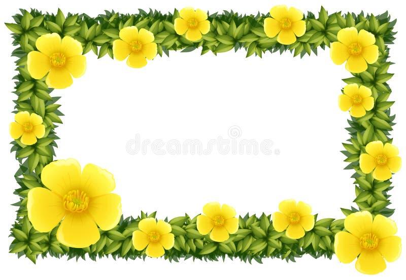 Дизайн рамки с желтыми цветками бесплатная иллюстрация