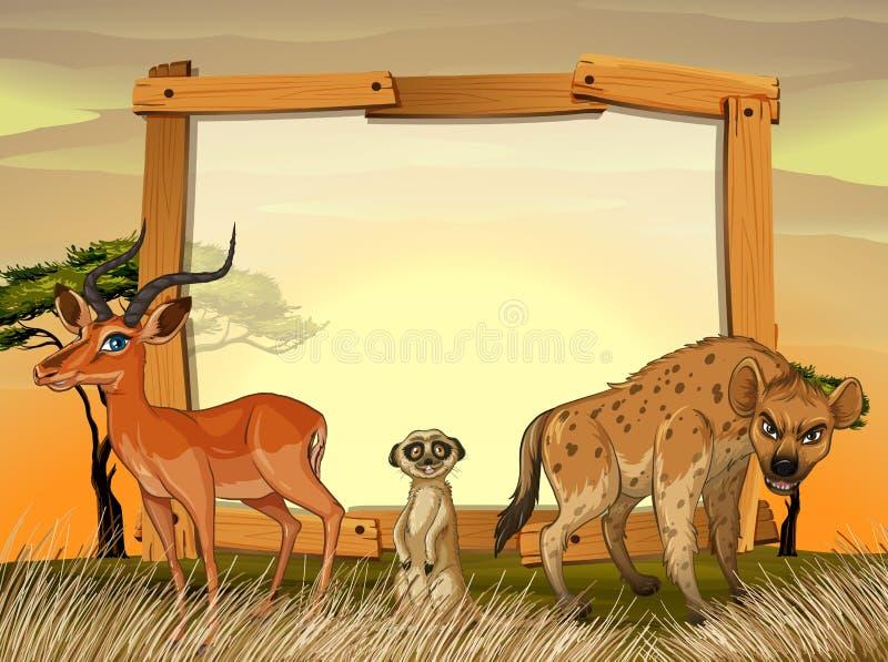 Дизайн рамки с дикими животными в поле бесплатная иллюстрация