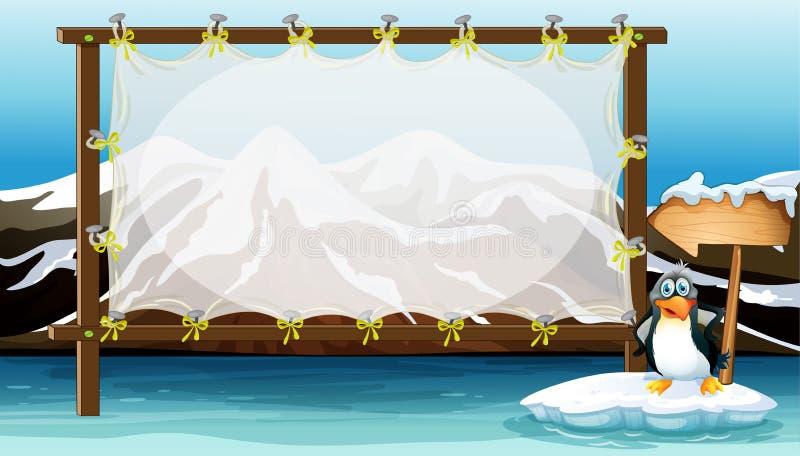 Дизайн рамки с пингвином на айсберге иллюстрация вектора