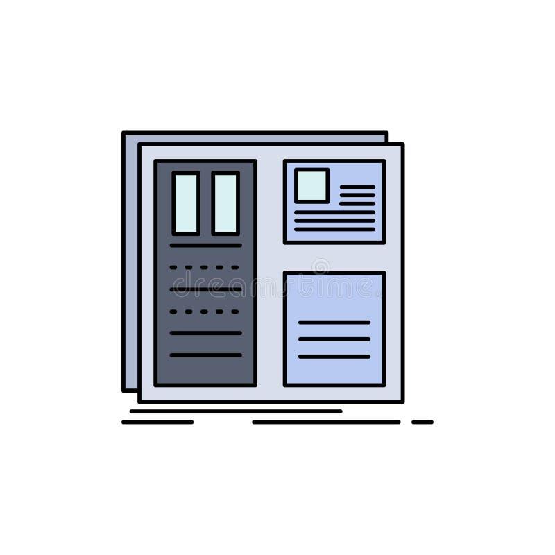 Дизайн, решетка, интерфейс, план, вектор значка цвета ui плоский бесплатная иллюстрация