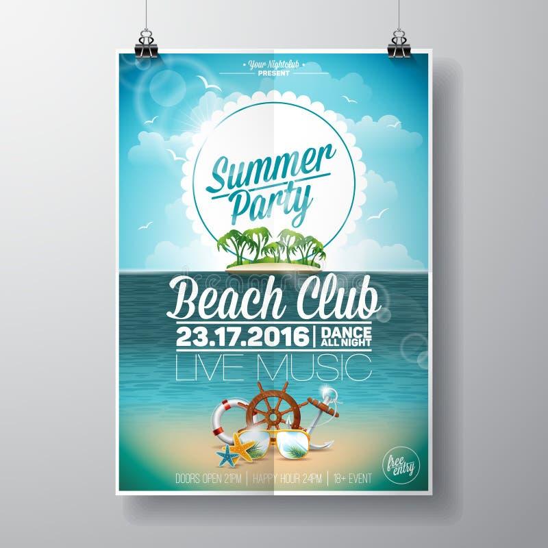 Дизайн рогульки партии пляжа лета вектора с типографскими элементами на предпосылке ландшафта океана иллюстрация вектора