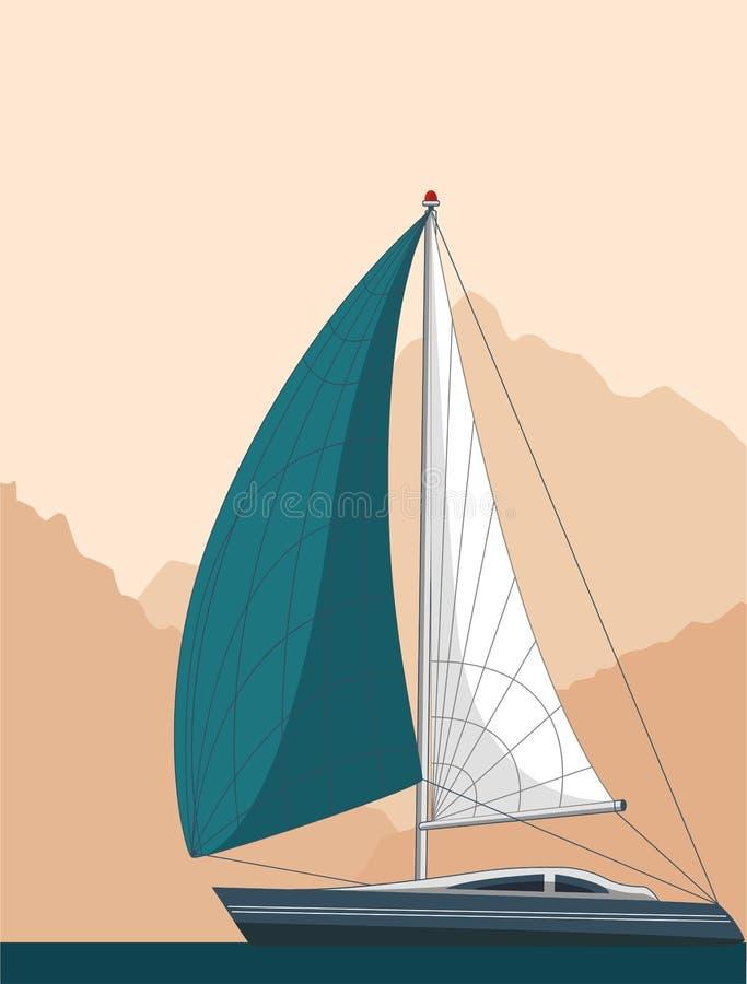 Дизайн рогульки яхт-клуба с парусником бесплатная иллюстрация