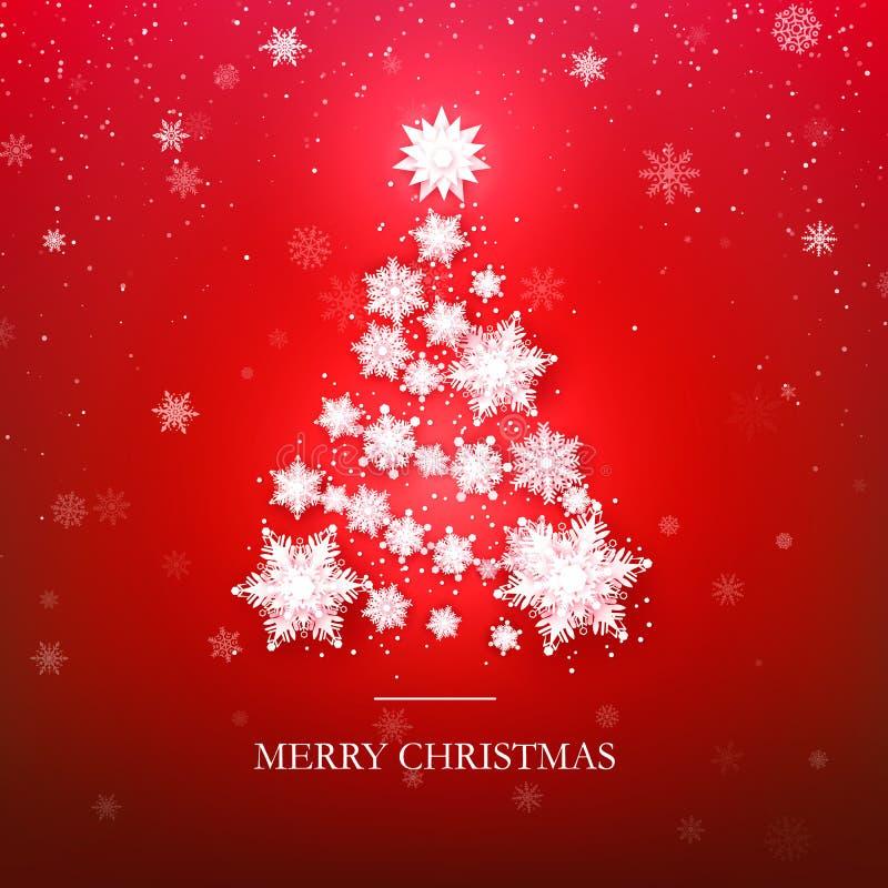 Дизайн рождественской елки снежинки Бумажные снежинки сделали силуэт дерева Нового Года Абстрактная предпосылка праздника также в иллюстрация штока