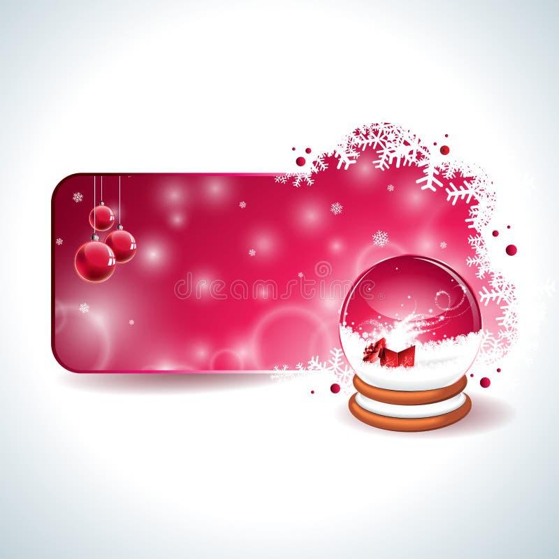 Дизайн рождества вектора с волшебным глобусом снега и красным стеклянным шариком на предпосылке снежинок иллюстрация штока
