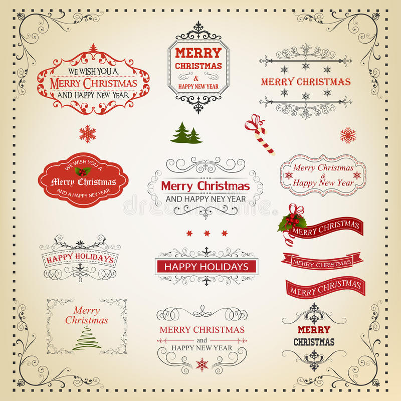 Дизайн рождества и Нового Года каллиграфический и типографский бесплатная иллюстрация