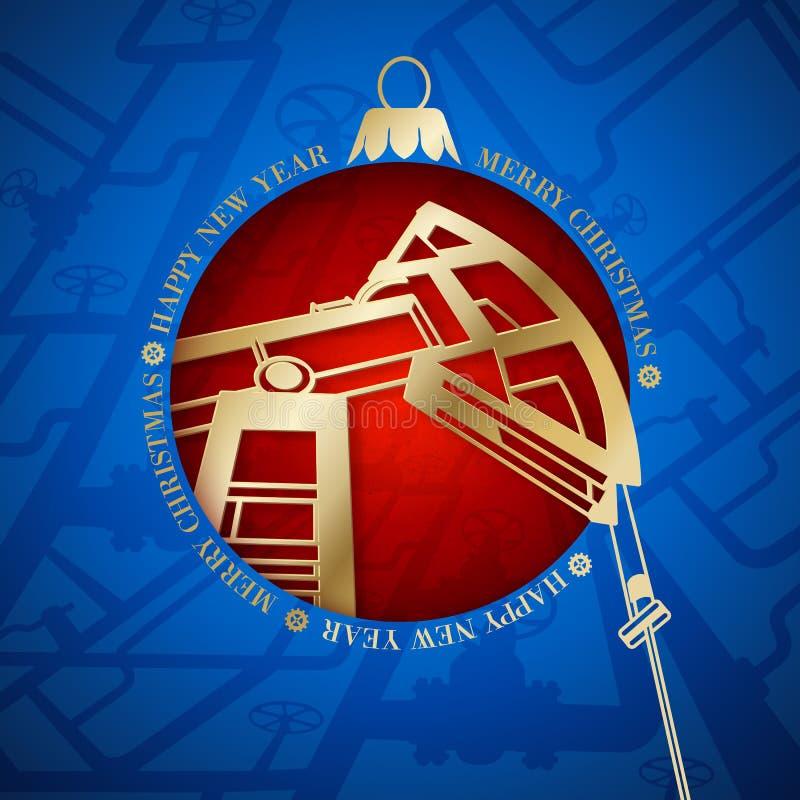 Дизайн рождества нефтедобывающей промышленности. иллюстрация штока