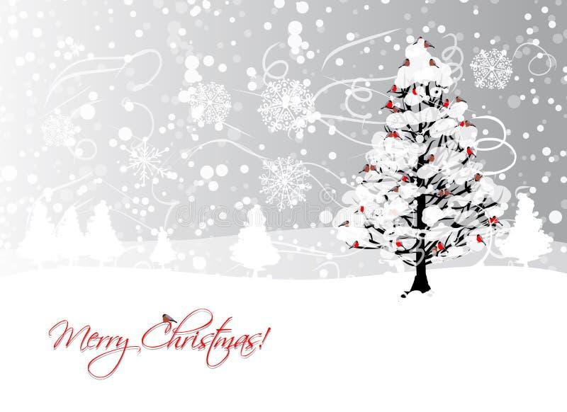 Дизайн рождественской открытки с деревом зимы и иллюстрация штока