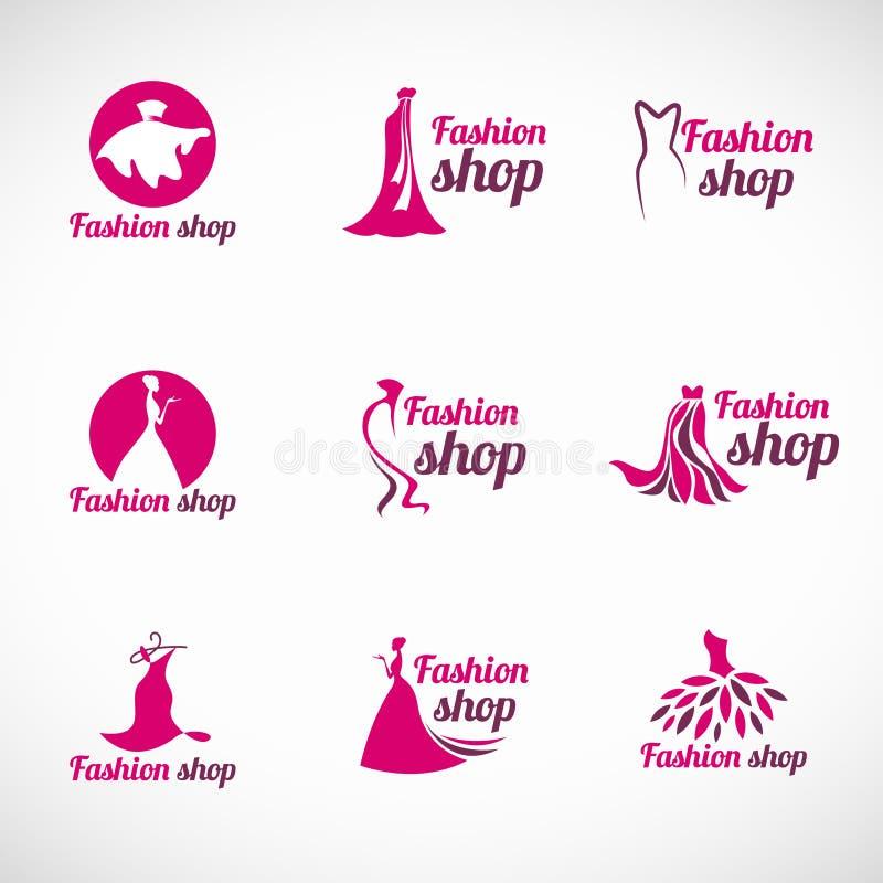 Дизайн розового вектора логотипа магазина моды платья женщины установленный иллюстрация вектора