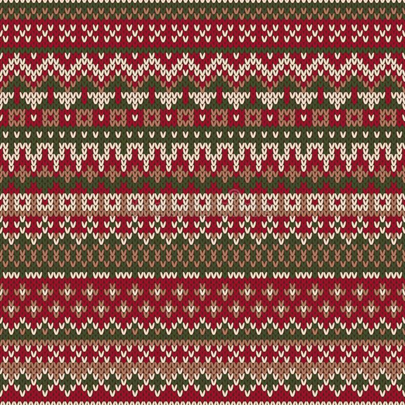 Дизайн свитера рождества Безшовная связанная картина в traditiona бесплатная иллюстрация