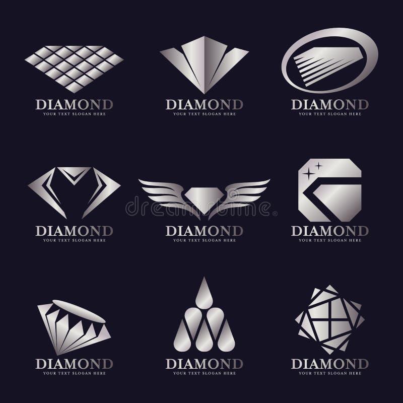 Дизайн серебряной иллюстрации вектора логотипа диаманта установленный иллюстрация вектора