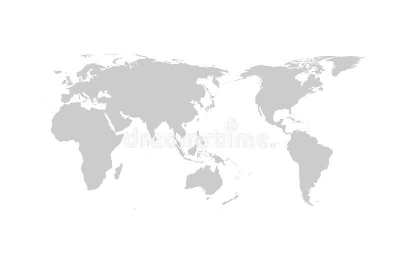 Дизайн серого вектора карты мира плоский, Азия в центре иллюстрация штока