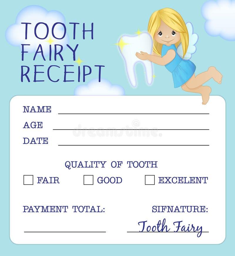 Дизайн сертификата получения феи зуба иллюстрация штока