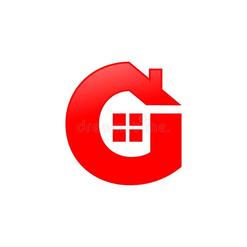 Дизайн символа значка формы дома g письма стоковые фото