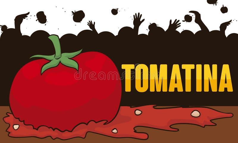 Дизайн силуэта с томатами людей бросая в событии Tomatina, иллюстрации вектора иллюстрация вектора