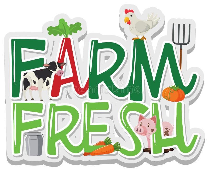 Дизайн слова для фермы свежей иллюстрация штока