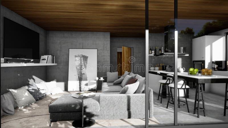 Дизайн современной внутренней, живущей комнаты стоковое изображение