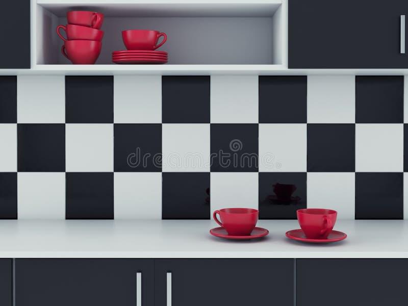 Дизайн современной кухни белый и черный бесплатная иллюстрация