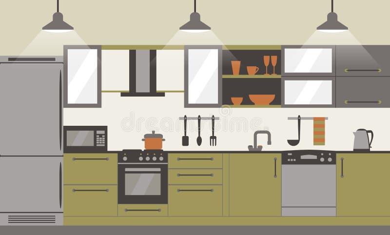 Дизайн современной кухни внутренний плоский с домашними мебелью и kithenware Вид спереди также вектор иллюстрации притяжки corel иллюстрация вектора