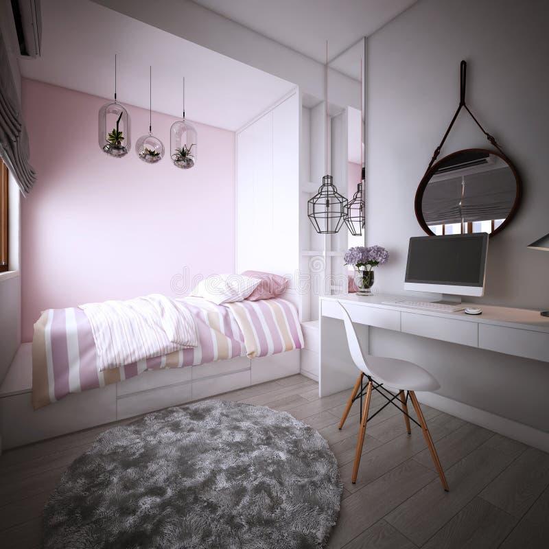 Дизайн спальни для дочери, интерьера уютного современного стиля, 3d перевода, иллюстрация 3d иллюстрация вектора
