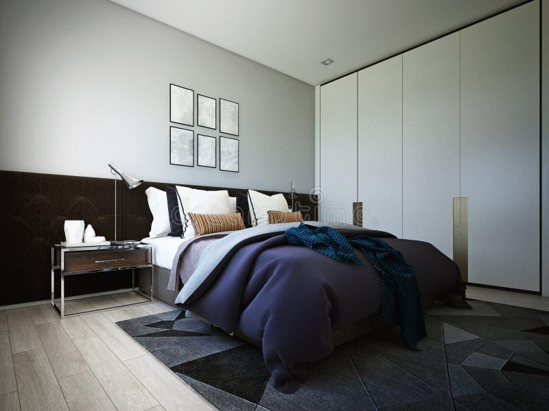 Дизайн спальни, интерьер уютного современного стиля, 3d перевода, иллюстрация 3d иллюстрация штока