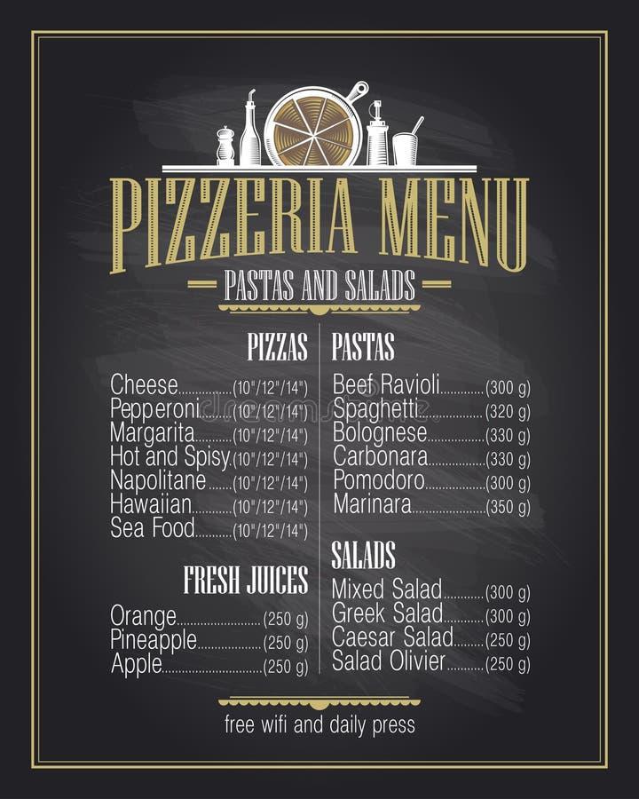Дизайн списка меню пиццерии мела бесплатная иллюстрация