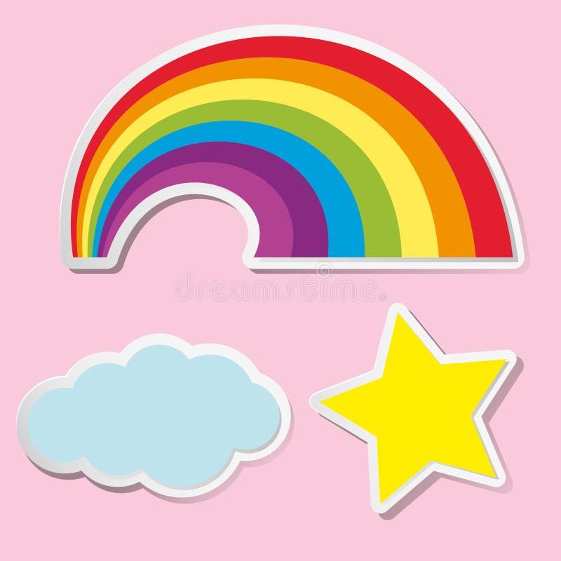 Дизайн стикера для радуги и облака иллюстрация штока