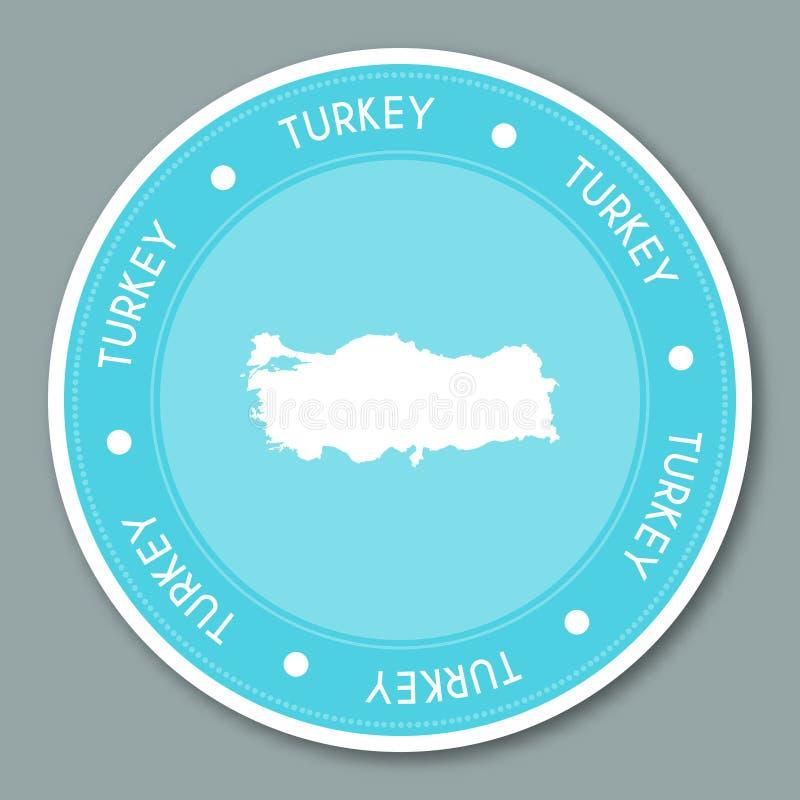 Дизайн стикера ярлыка Турции плоский иллюстрация штока
