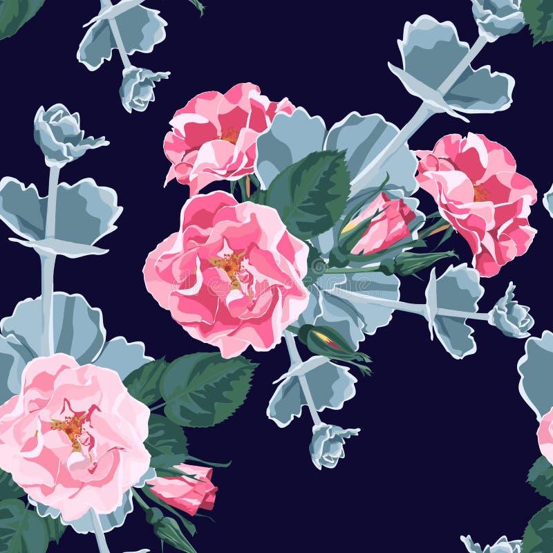 Дизайн стиля акварели безшовного вектора картины флористический: одичалый розовый розарий собаки canina rosa цветет и succulent бесплатная иллюстрация