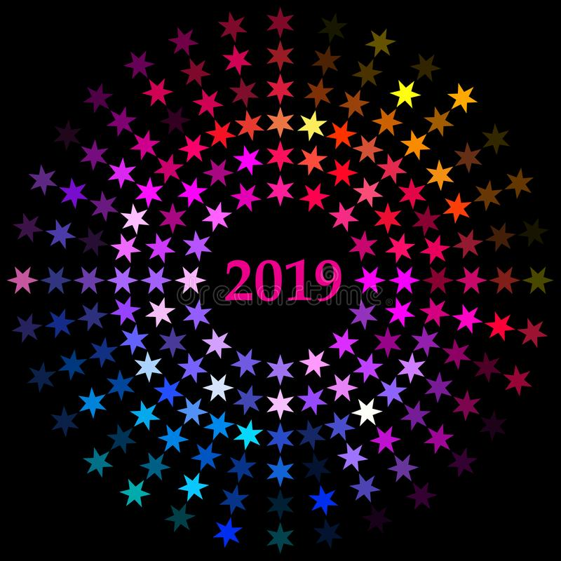 Дизайн стиля вектора одиночного взрыва radial Нового Года 2019 конструировал с звездами в плоских цветах радуги иллюстрация штока