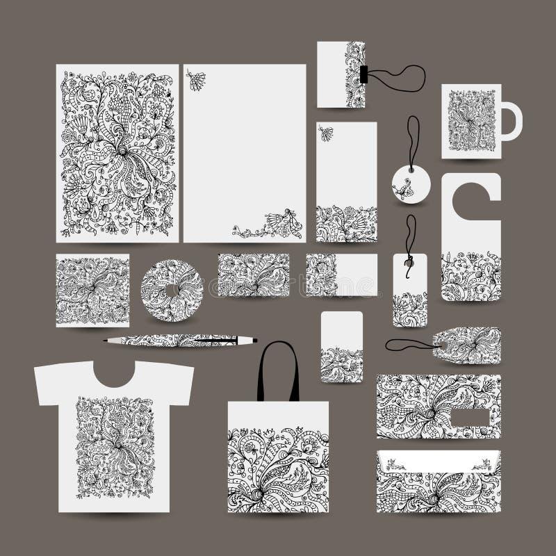 Дизайн стиля корпоративного бизнеса: папка, сумка, labe бесплатная иллюстрация
