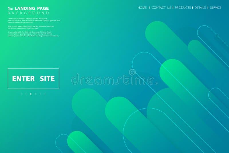 Дизайн страницы красочной зеленой голубой сети конспекта приземляясь геометрический E иллюстрация вектора