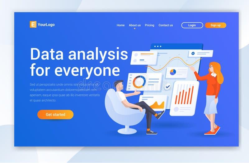 Дизайн страницы посадки компании анализа данных Современные плоские концепции иллюстрации дизайна дизайна интернет-страницы для в иллюстрация вектора