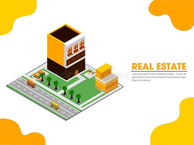 дизайн страницы сайта с изометрической недвижимостью площадка, показы бесплатная иллюстрация